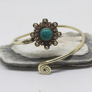 Ignatia Stone Brass Bangle-SALE/BANGLE $5-Gopal Brass Man (IND)-Howlite-The Outpost NZ