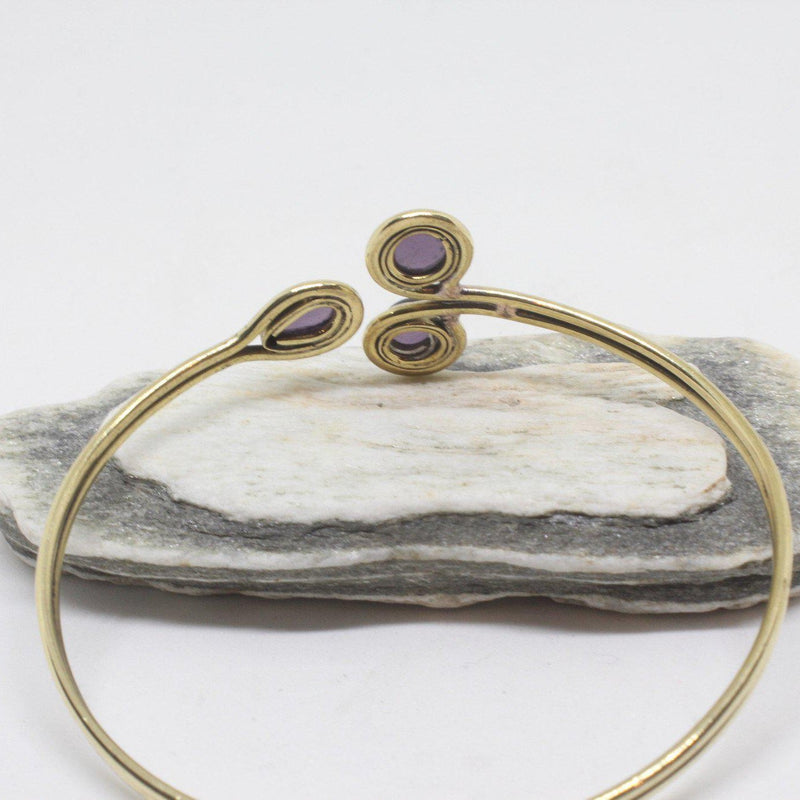 Ima Stone Brass Bangle-JEWELLERY / BANGLE-Gopal Brass Man (IND)-Amethyst-The Outpost NZ