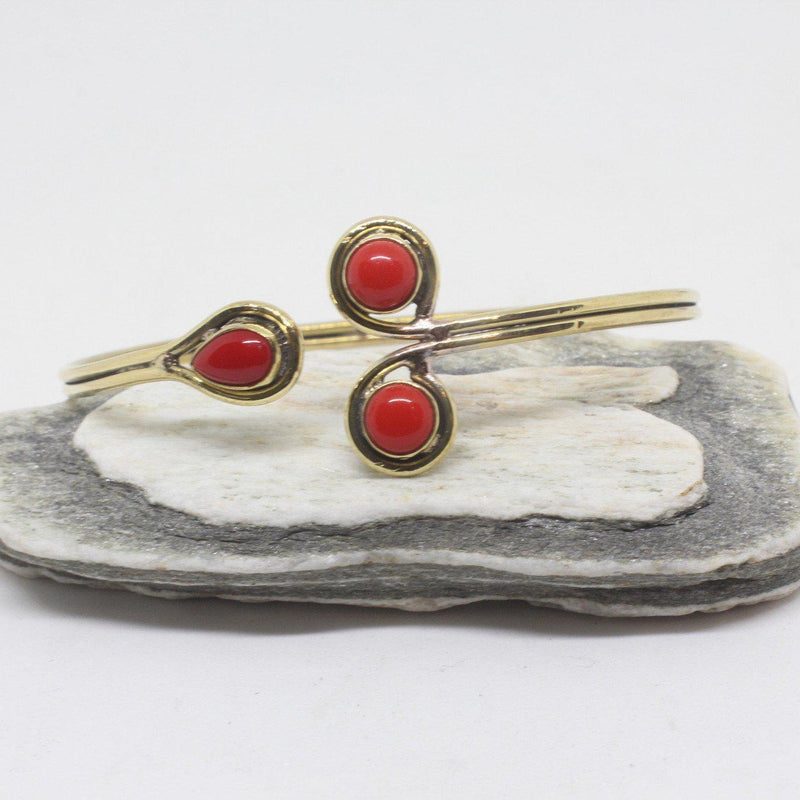 Ima Stone Brass Bangle-JEWELLERY / BANGLE-Gopal Brass Man (IND)-Coral-The Outpost NZ