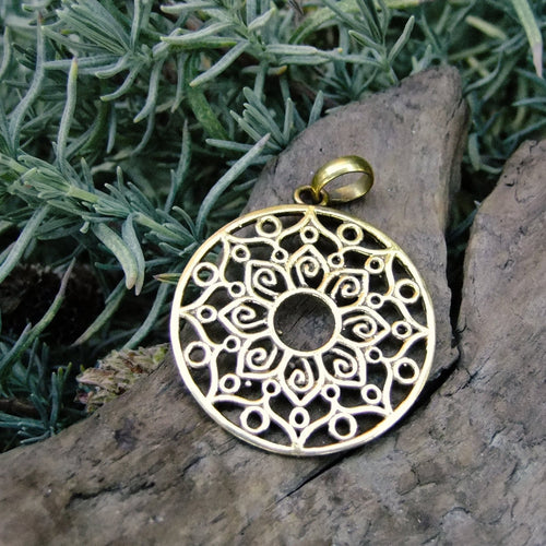 Indian Flower Brass Pendant-JEWELLERY / NECKLACE & PENDANT-Not specified-The Outpost NZ
