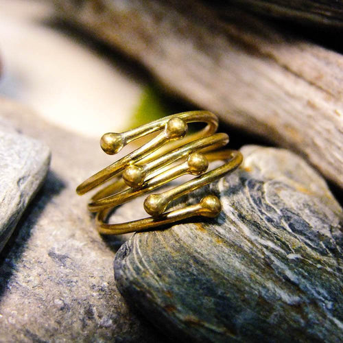 Iwi Interlocking Ring-JEWELLERY / RINGS-Gopal Brass Man (IND)-Brass-The Outpost NZ