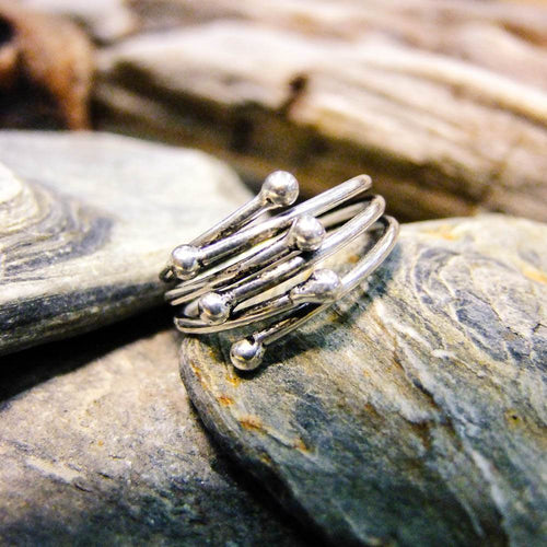 Iwi Interlocking Ring-JEWELLERY / RINGS-Gopal Brass Man (IND)-Silver Plated Brass-The Outpost NZ