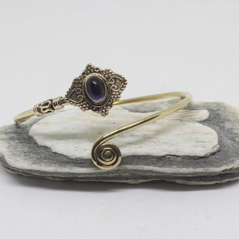Jeana Stone Brass Bangle-SALE/BANGLE $5-Gopal Brass Man (IND)-Amethyst-The Outpost NZ