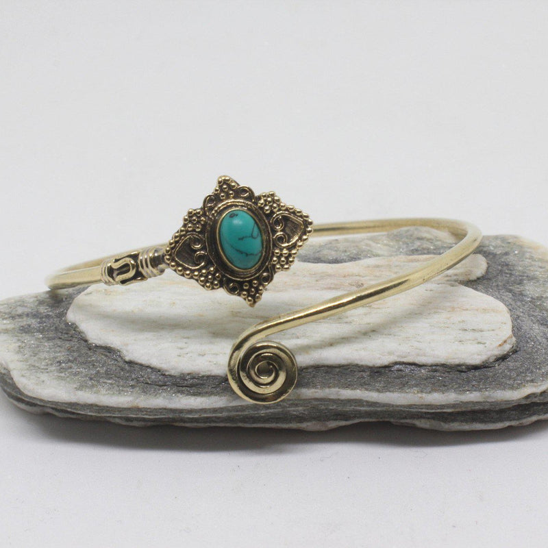 Jeana Stone Brass Bangle-SALE/BANGLE $5-Gopal Brass Man (IND)-Howlite-The Outpost NZ