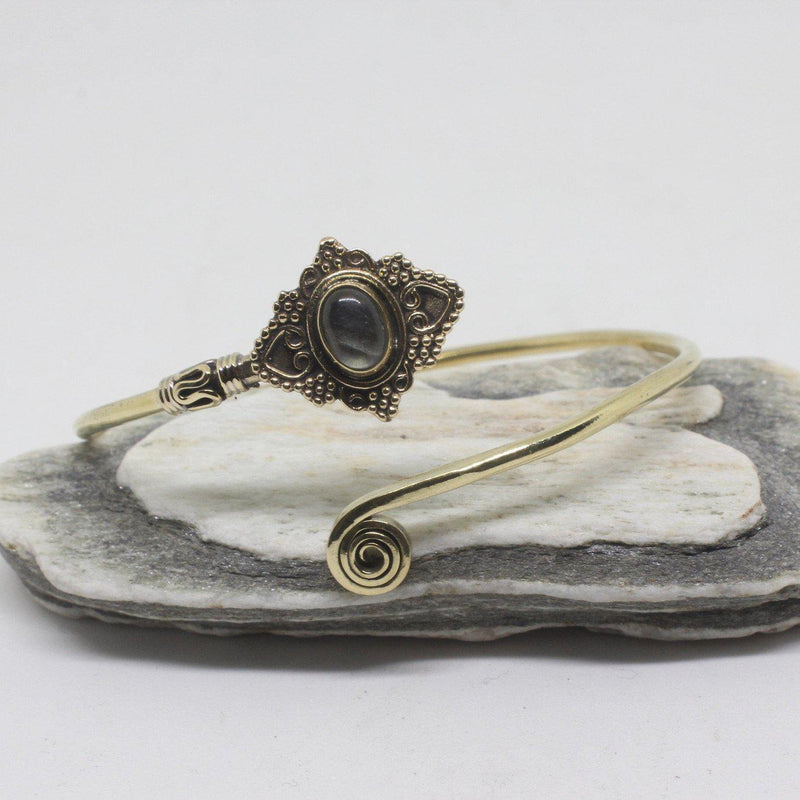 Jeana Stone Brass Bangle-SALE/BANGLE $5-Gopal Brass Man (IND)-Labradorite-The Outpost NZ