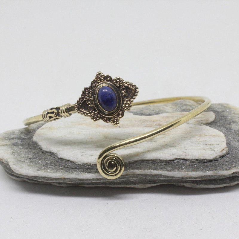 Jeana Stone Brass Bangle-SALE/BANGLE $5-Gopal Brass Man (IND)-Lapis Lazuli-The Outpost NZ