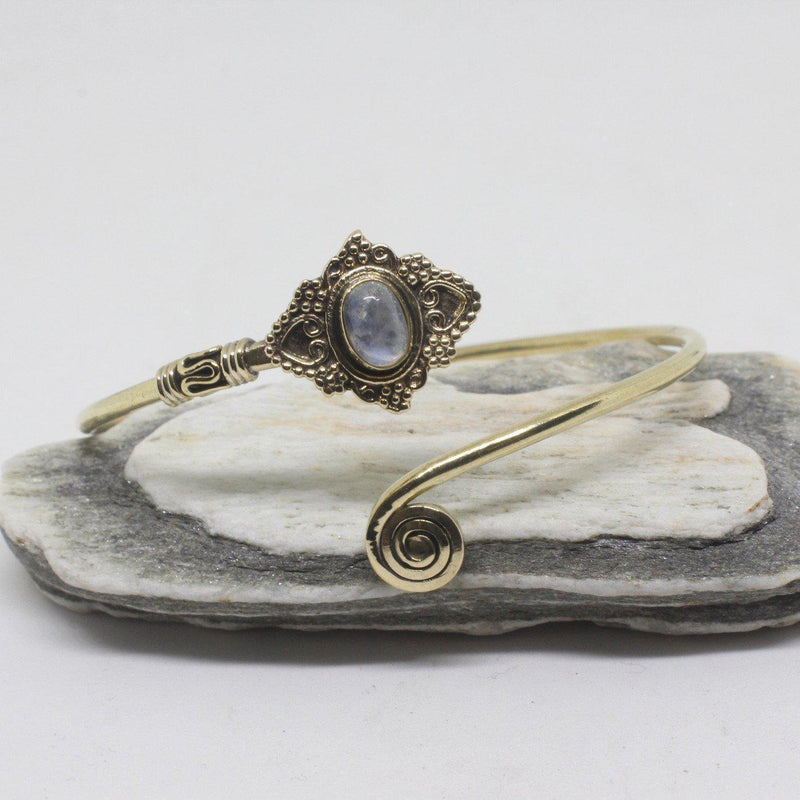 Jeana Stone Brass Bangle-SALE/BANGLE $5-Gopal Brass Man (IND)-Moonstone-The Outpost NZ
