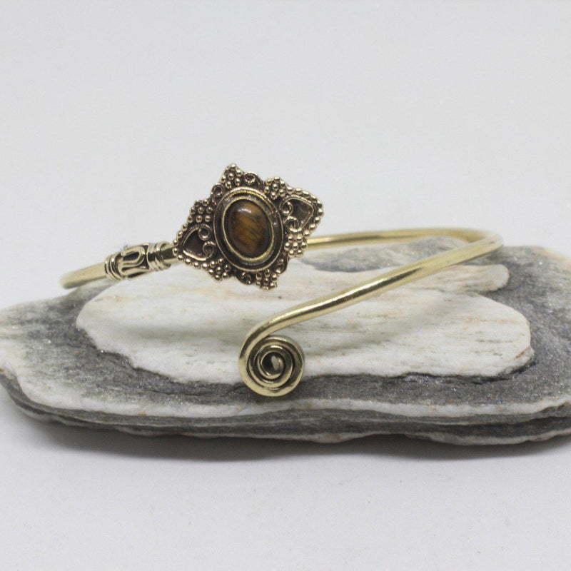 Jeana Stone Brass Bangle-SALE/BANGLE $5-Gopal Brass Man (IND)-Tigers Eye-The Outpost NZ