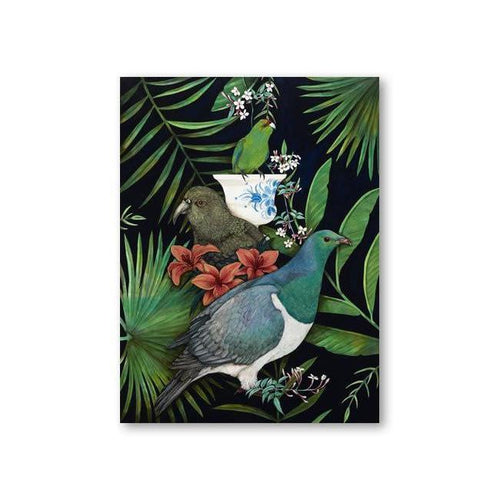 Kakarikis Vase Canvas By Kathryn Furniss-NZ ART-Image Vault ltd (NZ)-The Outpost NZ