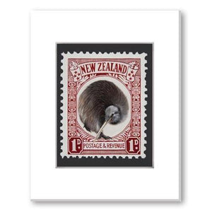Kiwi Stamp NZ Print 28 x 35 cm-NZ ART-Image Vault ltd (NZ)-The Outpost NZ