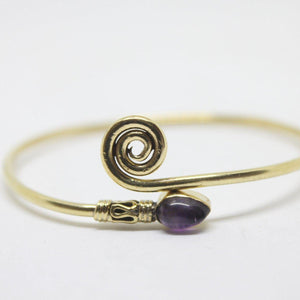 Koru Stone Brass Bangle-SALE/BANGLE-Not specified-Red-The Outpost NZ