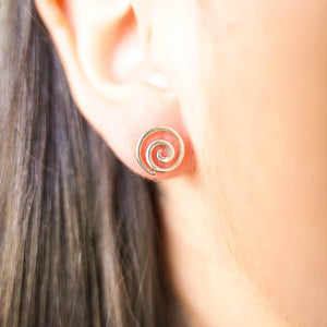 Koru Stud Silver Earrings-JEWELLERY / EARRINGS-Mimi Silver (THA)-The Outpost NZ