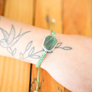 Kui Greenstone Silver Link Bracelet-JEWELLERY / BRACELET-Tinu Final/ Rahul (IND)-Macrame-Apple Green-The Outpost NZ