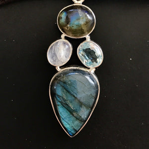 Labradorite Moonstone Aquamarine Pendant-JEWELLERY / NECKLACE & PENDANT-India Silver Jewels (IND)-The Outpost NZ