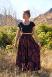 Lana Long Stonewash Skirt-CLOTHING / SKIRT-Mt Fashion (NEP)-Red-Front Mandala-The Outpost NZ