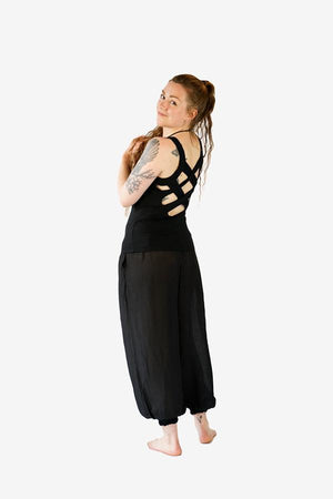 Lattice Back Top-CLOTHING / TOPS-Jordano Shop (THA)-Plain-Black-The Outpost NZ