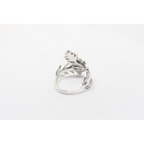 Lea Leaf Twist Silver Ring-JEWELLERY / RINGS-Silver Lion (THA)-52-The Outpost NZ
