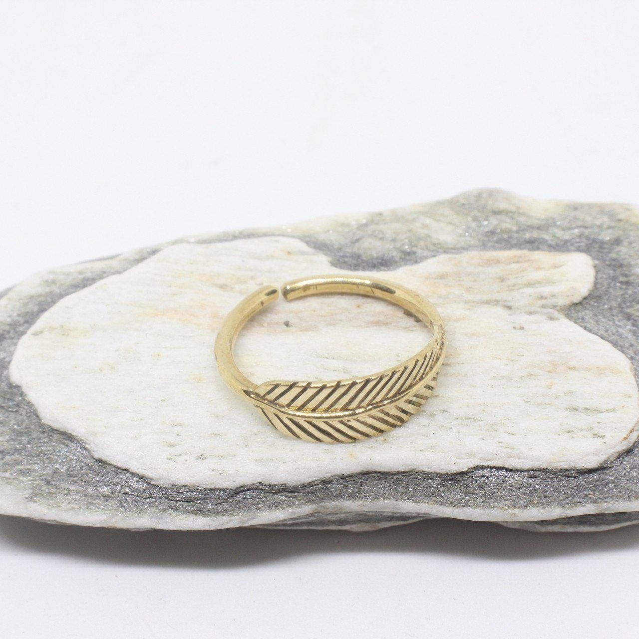 Leaf Brass Ring-Jewellery-Not specified-The Outpost NZ