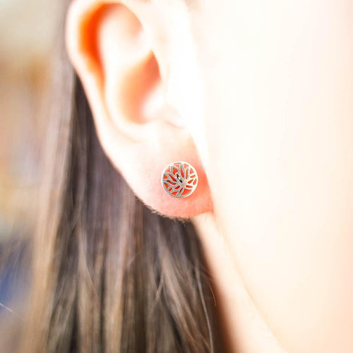 Lilly Flower Silver Stud Earrings-JEWELLERY / EARRINGS-Mimi Silver (THA)-The Outpost NZ