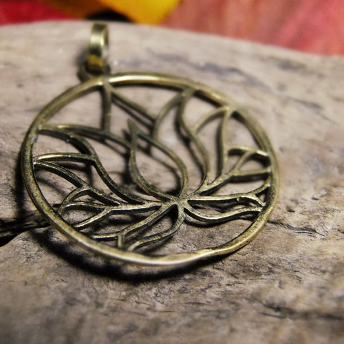 Lotus Brass Pendant-JEWELLERY / NECKLACE & PENDANT-Not specified-The Outpost NZ