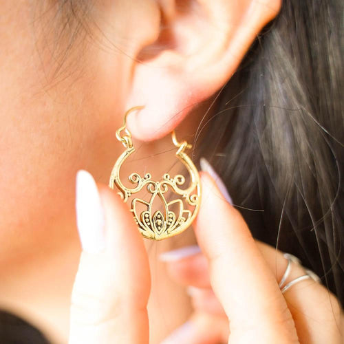 Lotus Vine Circle Earrings-JEWELLERY / EARRINGS-Gopal Brass Man (IND)-Brass-The Outpost NZ