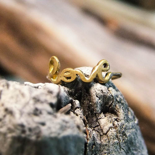 Love Brass Ring-JEWELLERY / RINGS-Gopal Brass Man (IND)-Brass-The Outpost NZ