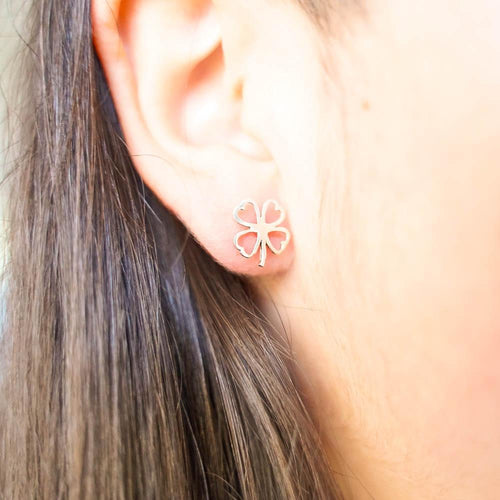 Lucky Four Leaf Clover Silver Stud Earrings-JEWELLERY / EARRINGS-Mimi Silver (THA)-The Outpost NZ