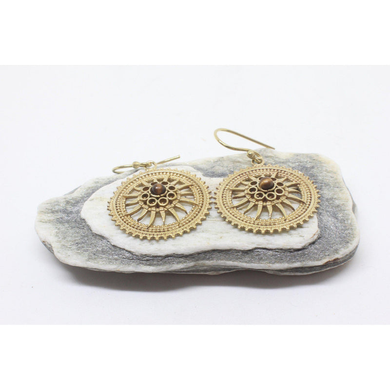 Maeve Brass Earrings-JEWELLERY / EARRINGS-Gopal Brass Man (IND)-Tigers Eye-The Outpost NZ