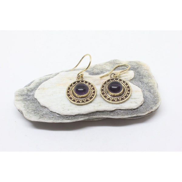 Mahtab Brass Earrings-JEWELLERY / EARRINGS-Gopal Brass Man (IND)-Amethyst-The Outpost NZ