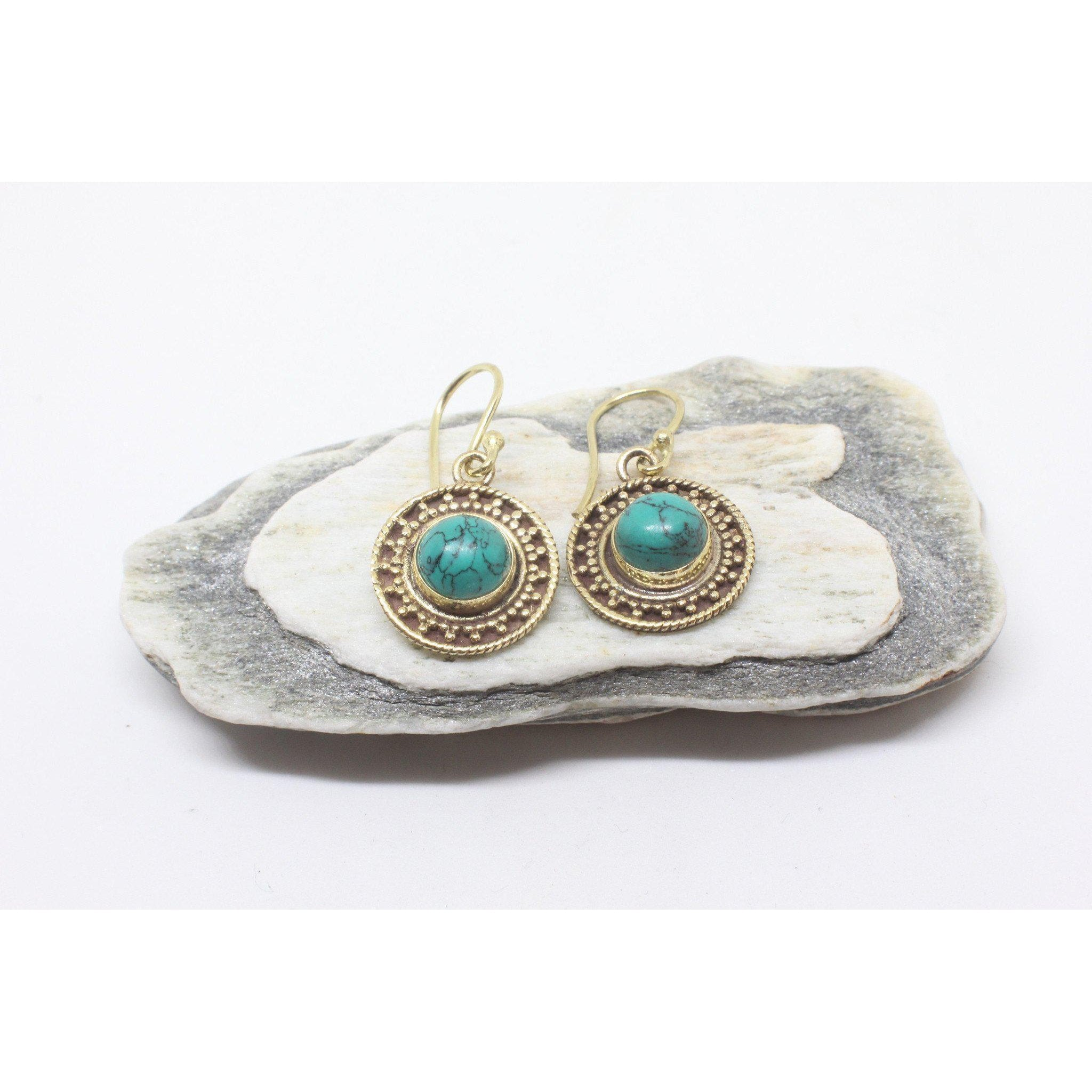 Mahtab Brass Earrings-JEWELLERY / EARRINGS-Gopal Brass Man (IND)-Howlite-The Outpost NZ