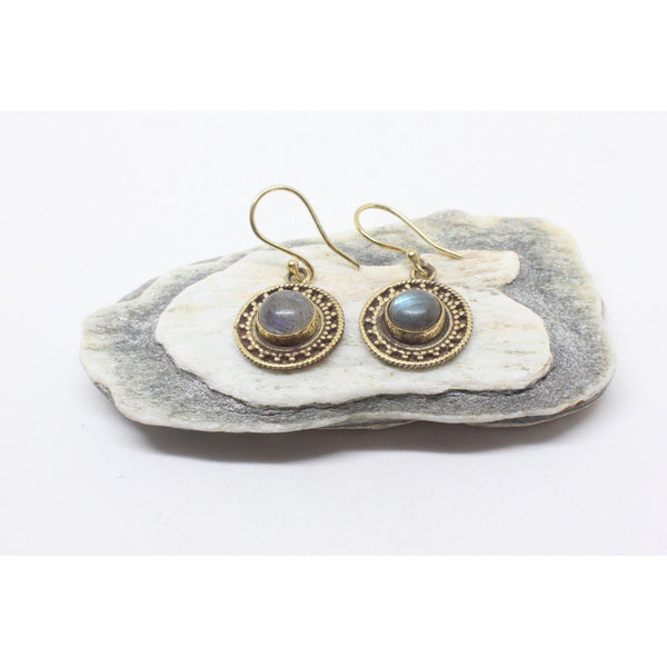 Mahtab Brass Earrings-JEWELLERY / EARRINGS-Gopal Brass Man (IND)-Labradorite-The Outpost NZ