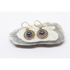 Mahtab Brass Earrings-JEWELLERY / EARRINGS-Gopal Brass Man (IND)-Lapis Lazuli-The Outpost NZ