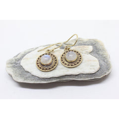 Mahtab Brass Earrings-JEWELLERY / EARRINGS-Gopal Brass Man (IND)-Moonstone-The Outpost NZ