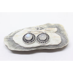 Mahtab Silver Plated Earrings-JEWELLERY / EARRINGS-Gopal Brass Man (IND)-Moonstone-The Outpost NZ