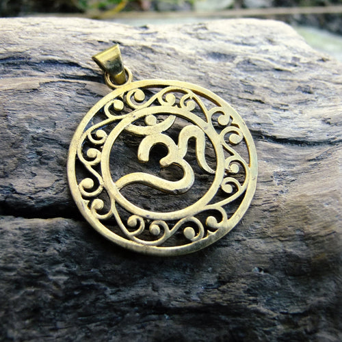 Mantra Pattern Brass Pendant-JEWELLERY / NECKLACE & PENDANT-Not specified-The Outpost NZ