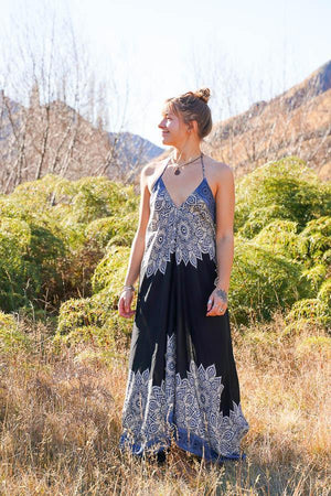 Maxi Freedom Dress-CLOTHING / DRESS-Big Colour (THA)-Border Mandala-Black-The Outpost NZ