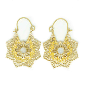Maya Brass Earrings-JEWELLERY / EARRINGS-Gopal Brass Man (IND)-Moonstone-The Outpost NZ