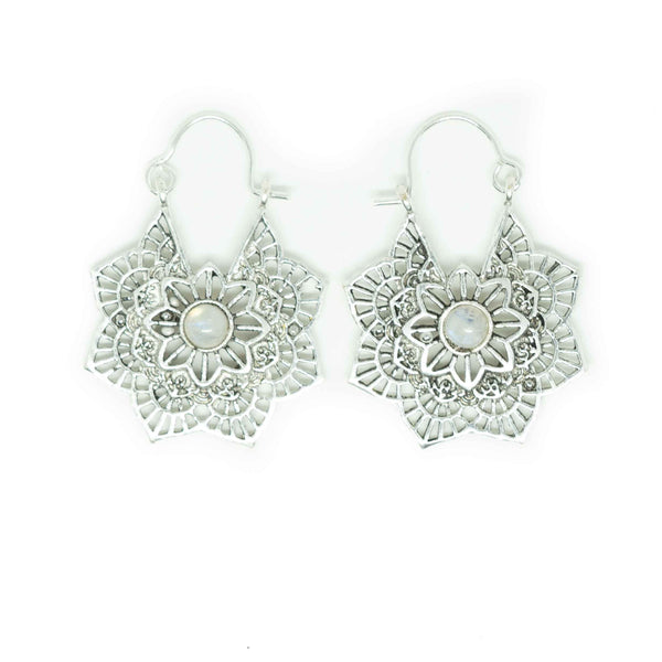 Maya Silver Plated Earrings-JEWELLERY / EARRINGS-Gopal Brass Man (IND)-Moonstone-The Outpost NZ