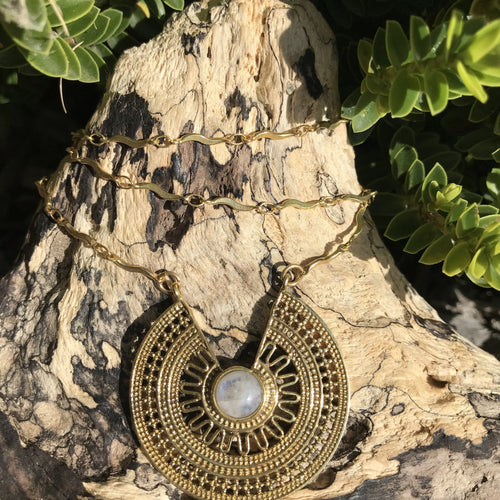 Medalla Stone Brass Necklace-JEWELLERY / NECKLACE & PENDANT-Gopal Brass Man (IND)-Moonstone-The Outpost NZ