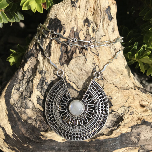 Medalla Stone Silver Plated Necklace-JEWELLERY / NECKLACE & PENDANT-Gopal Brass Man (IND)-Moonstone-The Outpost NZ