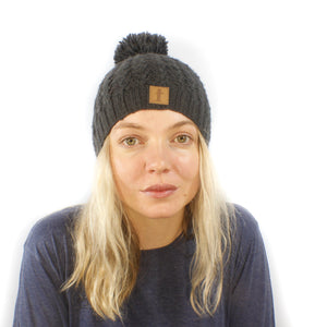 Merino Wool Pom Pom Beanie-ACCESSORIES / BEANIES-Babu Kaji Knitwear (NEP)-Charcoal-The Outpost NZ