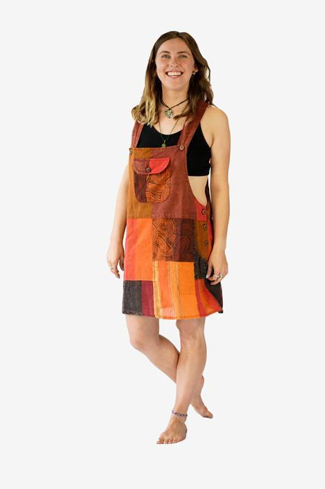 Mini Skirt Patchwork Dungarees Dress-CLOTHING / DUNGAS-Mt Fashion (NEP)-Purple-S/M-The Outpost NZ