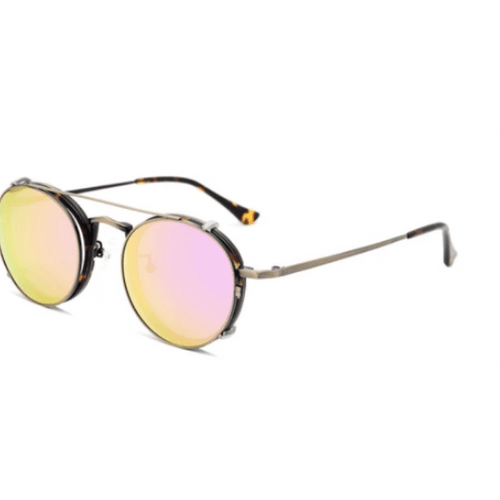 Moa Round Clip on Sunnies (P)-ACCESSORIES / SUNGLASSES-Lonsy Eyewear International Co.Ltd (CHI)-Metal, Pink Lense-The Outpost NZ