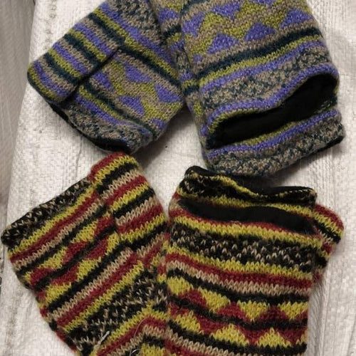 Mohair Jacquard Hunter Mittens-ACCESSORIES / HANDWEAR-Babu Kaji Knitwear (NEP)-The Outpost NZ