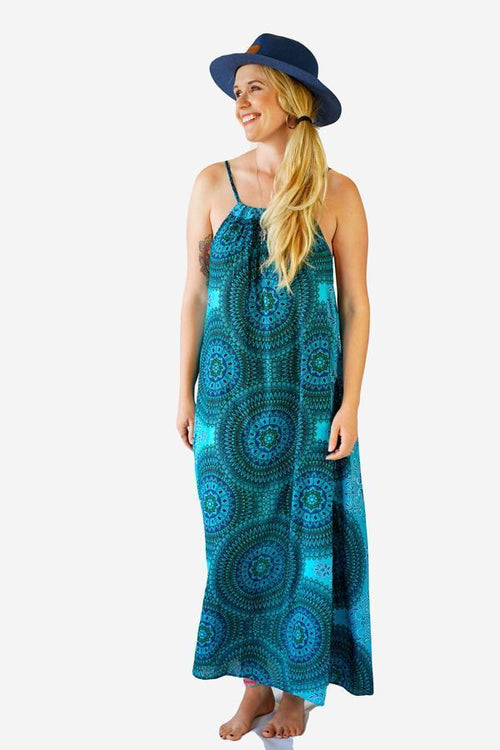 Monique dress-CLOTHING / DRESS-Champagne2 (THA)-Floral Mandala-Turquoise-The Outpost NZ