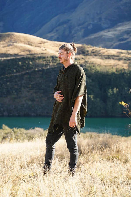Mountain Poncho-CLOTHING / PONCHO-The Look Fashion (NEP)-Olive-The Outpost NZ