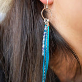 Multi Strand Bead Feather Earrings-JEWELLERY / EARRINGS-(THA)-Silver-Aqua-The Outpost NZ