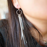 Multi Strand Bead Feather Earrings-JEWELLERY / EARRINGS-(THA)-Silver-Grey-The Outpost NZ