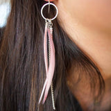 Multi Strand Bead Feather Earrings-JEWELLERY / EARRINGS-(THA)-Silver-Lilacy Pink-The Outpost NZ