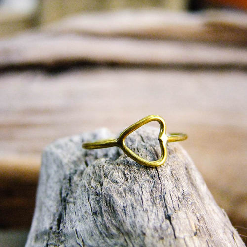 Myra Heart Brass Ring-JEWELLERY / RINGS-Gopal Brass Man (IND)-The Outpost NZ
